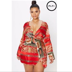 prettylittlething kimono inspired wrap dress